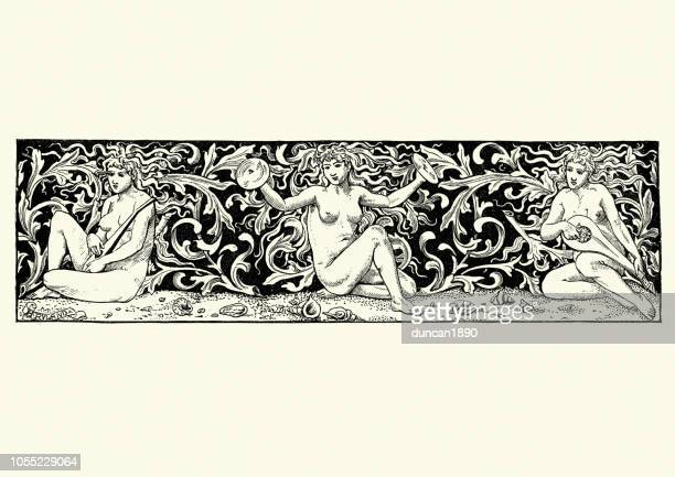 greek mythology, the sirens - greek mythology stock illustrations
