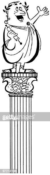 greek orator on top of column - greek culture stock illustrations
