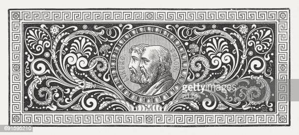 greek ornament with lykurgus and solon, wood engraving, published 1880 - sparta greece stock illustrations, clip art, cartoons, & icons