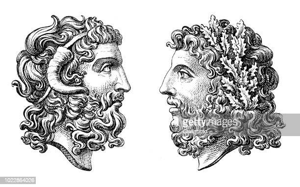 greek roman goddess zeus and jupiter - roman god stock illustrations