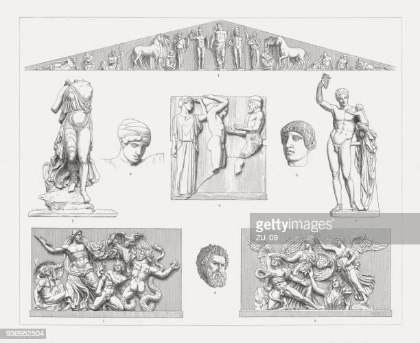 ilustrações, clipart, desenhos animados e ícones de arte de escultura grega (olympia e pérgamo), gravuras, publicadas 1897 de madeira - pediment