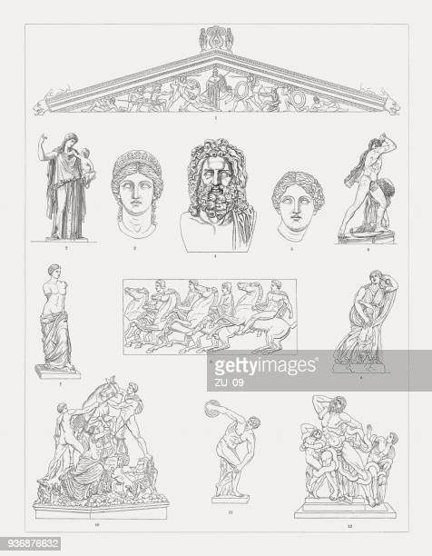 greek sculpture art, wood engravings, published in 1897 - greek culture stock illustrations, clip art, cartoons, & icons