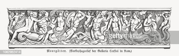 greek sea gods, sarcophagus, galleria corsini, rome, italy, published 1897 - bas relief stock illustrations