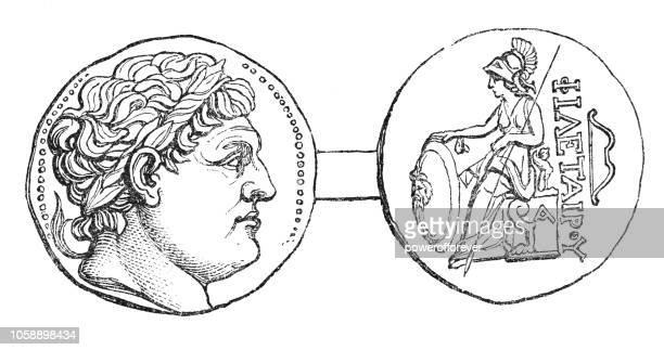 アッタロスのギリシャ銀テトラドラクマ ペルガモンのコイン (紀元前 3 世紀) - ペルガモン点のイラスト素材/クリップアート素材/マンガ素材/アイコン素材