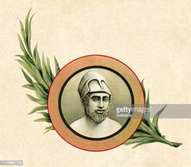 greek statesman pericles in classical attic portrait - ancient greece stock illustrations