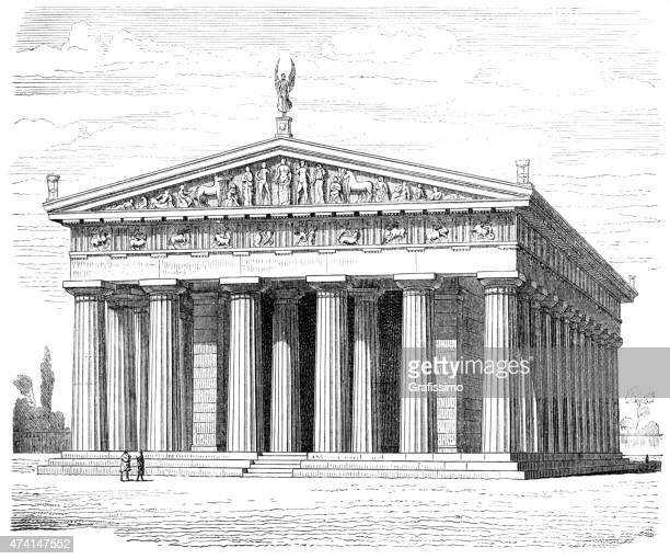 greek temple of zeus at olympia illustration - ancient olympia greece stock illustrations, clip art, cartoons, & icons