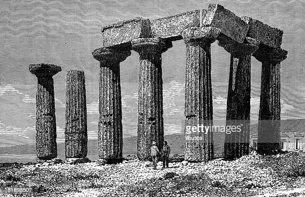 greek temple ruins - corinthian stock illustrations, clip art, cartoons, & icons