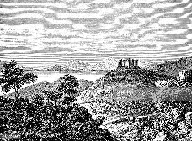 greek temple ruins on hill, with landscape - greek culture stock illustrations, clip art, cartoons, & icons
