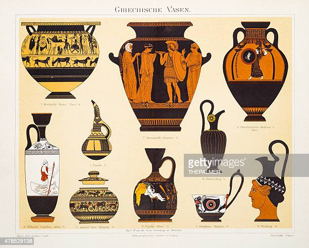 greek urns and amphoras lithograph 1897 - greek culture stock illustrations, clip art, cartoons, & icons