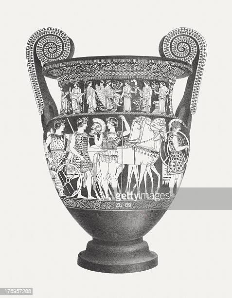 greek vase (volute krater), lithograph, published c. 1830 - classical greek style stock illustrations