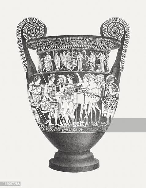greek vase (volute krater), lithograph, published c. 1830 - greek culture stock illustrations