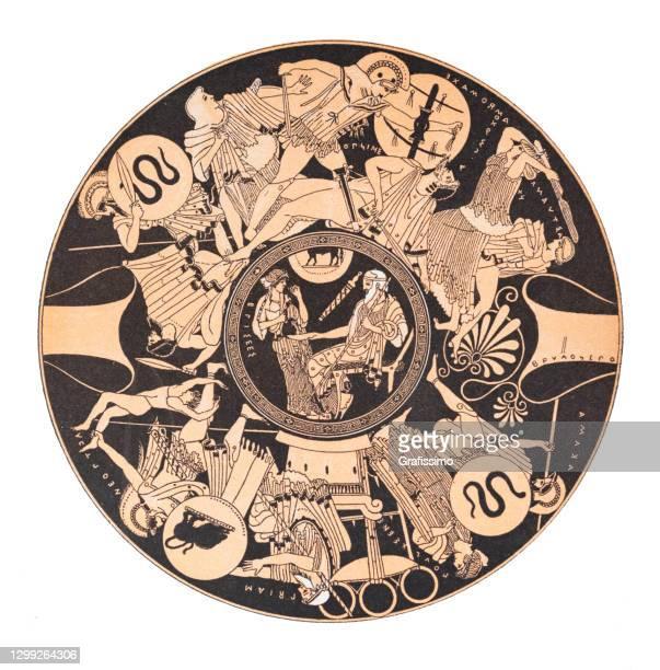 古いペレウスとトロハで最後の戦いを示すギリシャの花瓶 - アナトリア点のイラスト素材/クリップアート素材/マンガ素材/アイコン素材