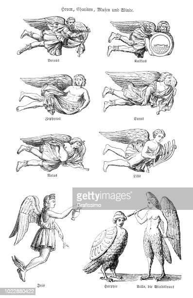 bildbanksillustrationer, clip art samt tecknat material och ikoner med grekiska vinden gudar anemoi - gud