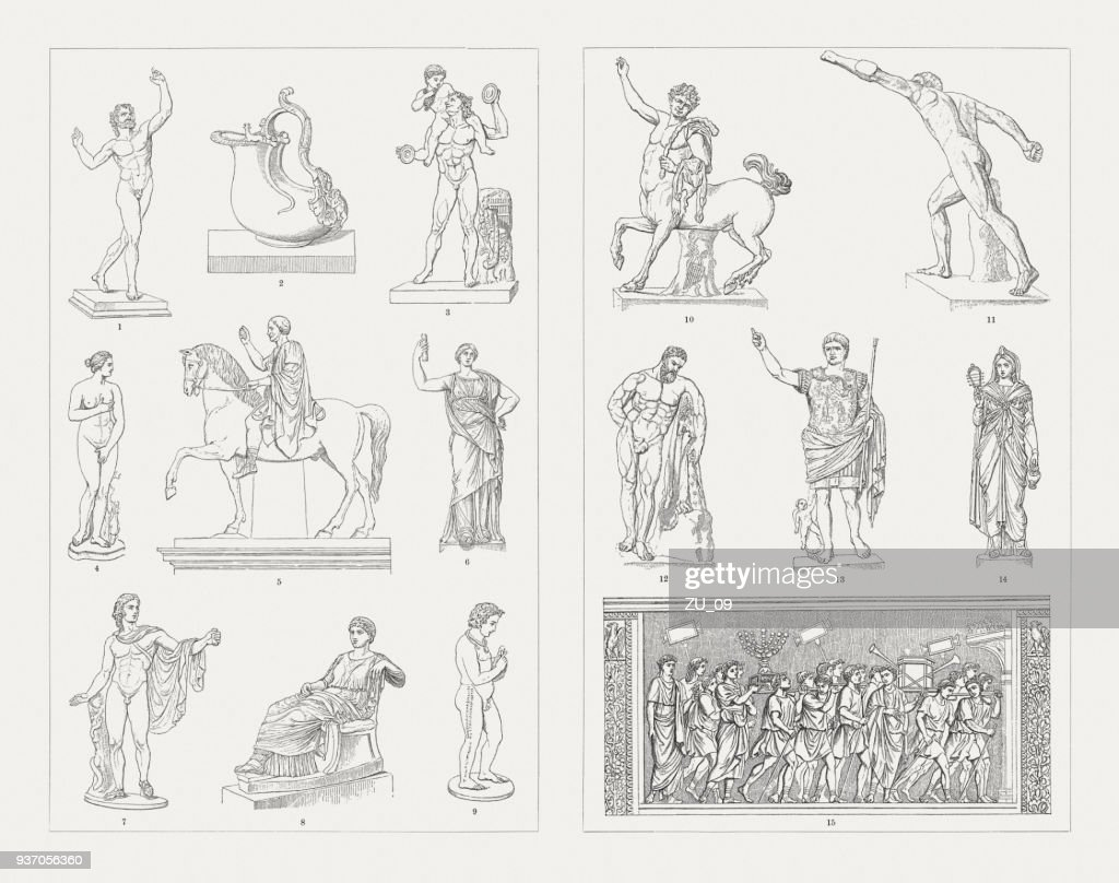 Greek-Roman and Etruscan sculpture art, wood engravings, published 1897 : stock illustration
