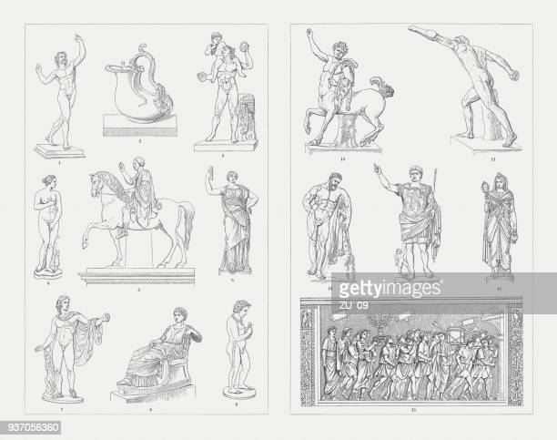 greek-roman and etruscan sculpture art, wood engravings, published 1897 - classical greek style stock illustrations