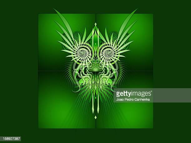 stockillustraties, clipart, cartoons en iconen met a green abstract digital illustration - pedo