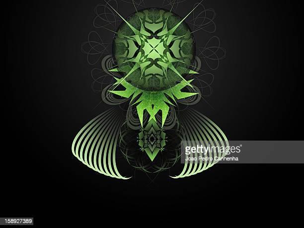 stockillustraties, clipart, cartoons en iconen met a green and black abstract digital illustration - pedo