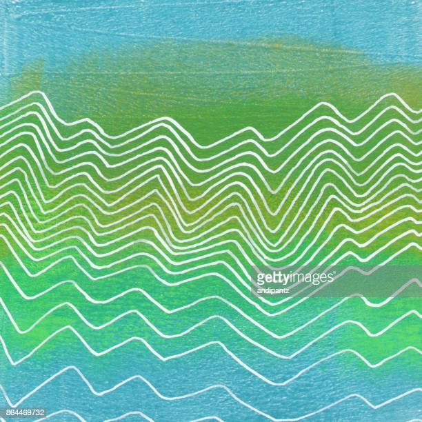 Green and blue hand painted background with waves
