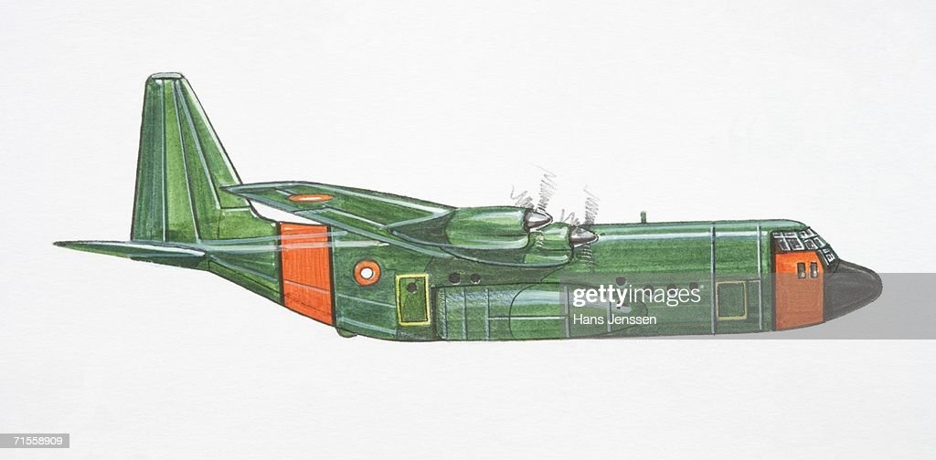 Green and red Lockheed C-130 Hercules military plane, side view. : Stock Illustration