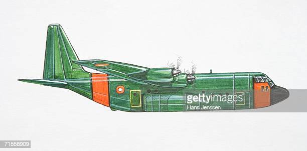green and red lockheed c-130 hercules military plane, side view. - us air force stock illustrations, clip art, cartoons, & icons