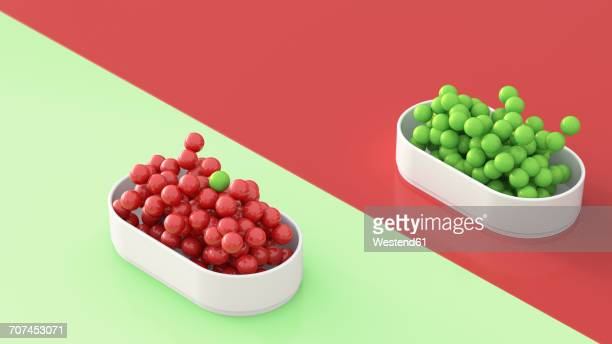 Green and red spheres in bowls, 3D Rendering