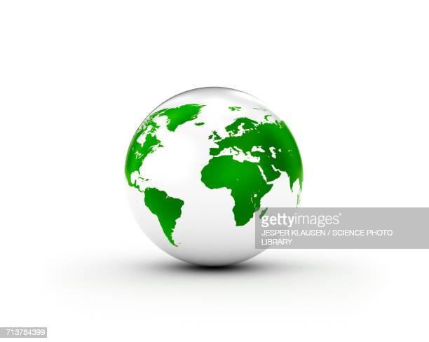 ilustrações de stock, clip art, desenhos animados e ícones de green and white globe - globo terrestre