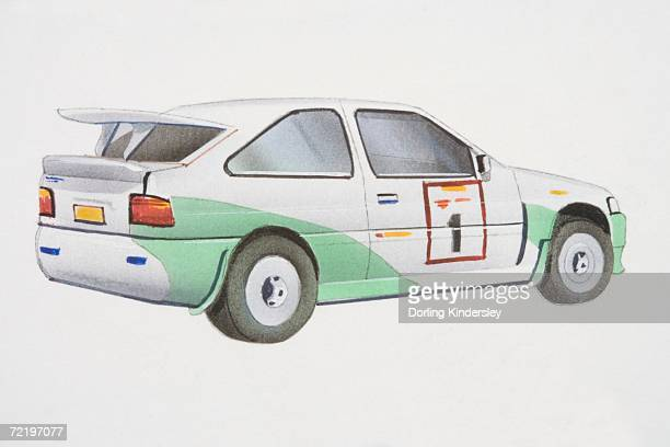 green and white rally car, side view. - street racing stock illustrations, clip art, cartoons, & icons