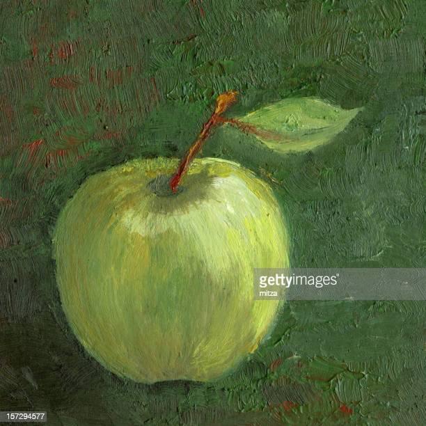 green apple - still life stock illustrations