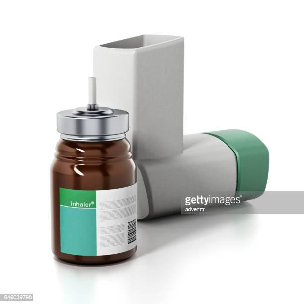 green asthma inhaler and medicine bottle.. generic product design - medical ventilator stock illustrations, clip art, cartoons, & icons