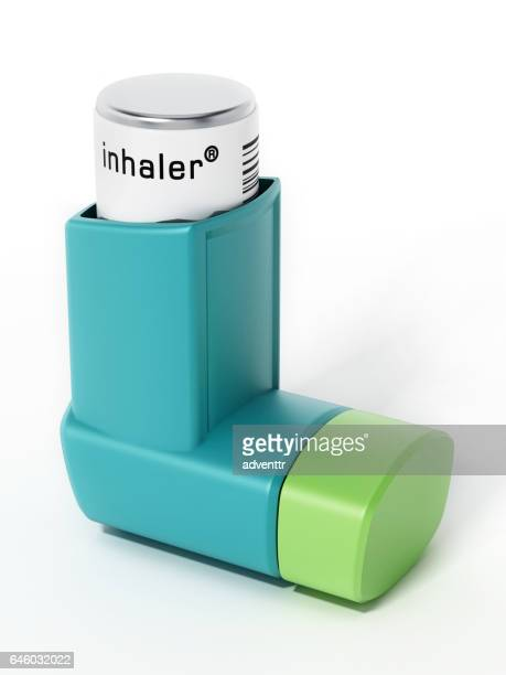 green asthma inhaler isolated on white. generic product design - medical ventilator stock illustrations, clip art, cartoons, & icons