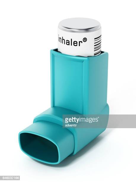green asthma inhaler isolated on white. generic product design - asthmatic stock illustrations