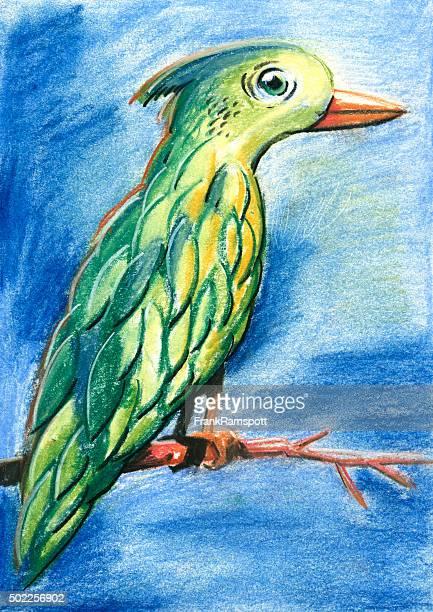 Green Bird Pastel Chalk Drawing