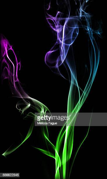 Green, Blue, and Purple colored smoke