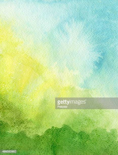 green blue yellow watercolor background - springtime stock illustrations, clip art, cartoons, & icons