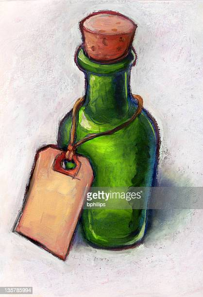 green bottle with tag - grunge image technique stock illustrations