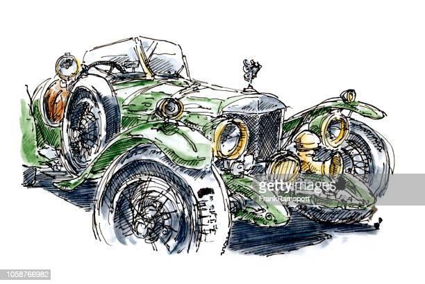 Grüne britische Sportwagen-Klassiker 1930 Tusche-Zeichnung und Aquarell
