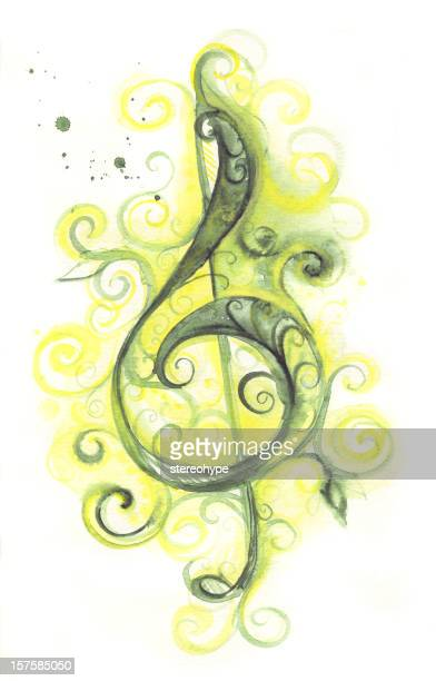 green clef - treble clef stock illustrations, clip art, cartoons, & icons
