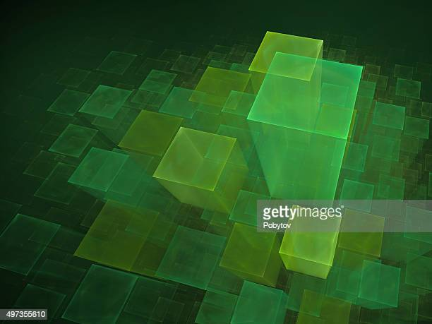 green cubic background - fractal stock illustrations