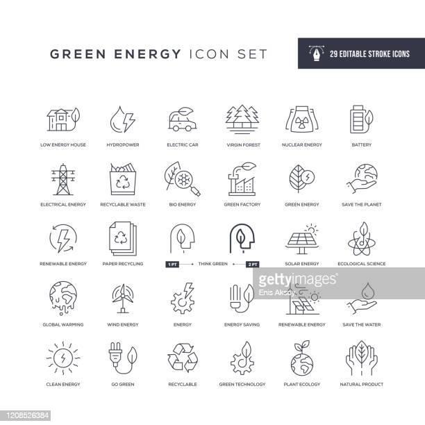 bildbanksillustrationer, clip art samt tecknat material och ikoner med ikoner för grön energirediga linjer - vindkraft