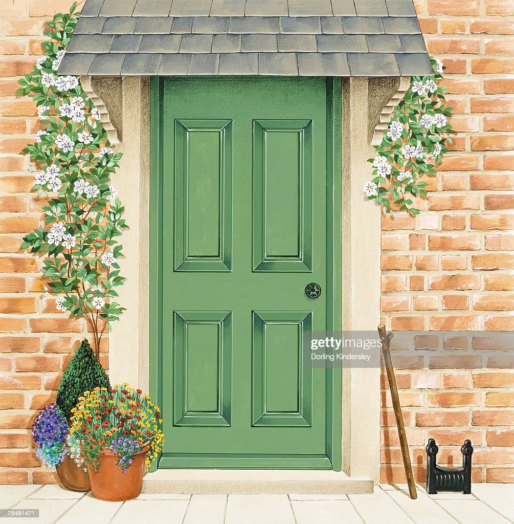 Green Front Door With Climbers Around Frame, And Potted Plants : Stock  Illustration