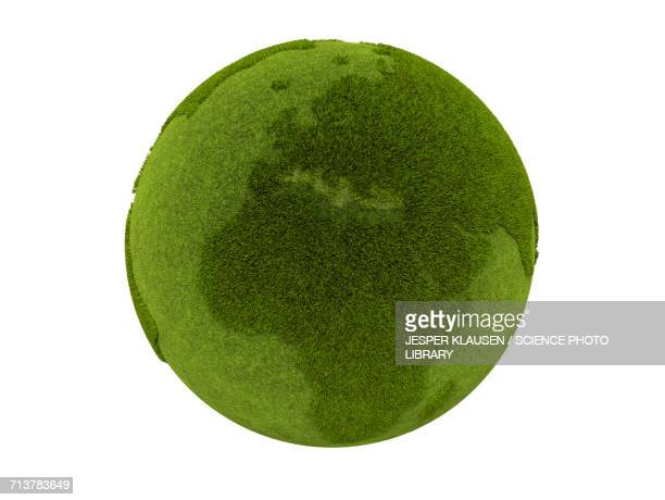 Green globe covered in grass