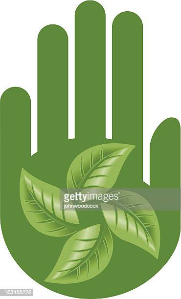 green hand and leaves - green thumb stock illustrations