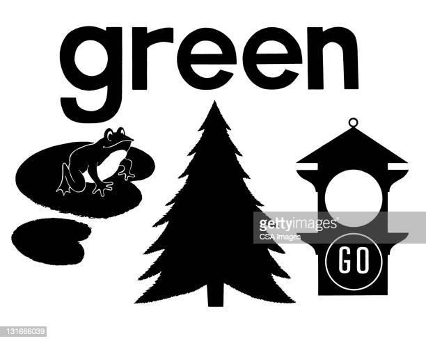 green - traffic stock illustrations