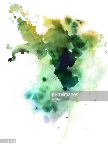 grüne tinte akzenten - aquarell fleck stock-grafiken, -clipart, -cartoons und -symbole