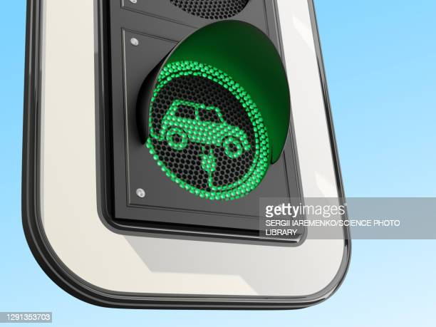 green light for electric vehicles, conceptual illustration - traffic stock illustrations