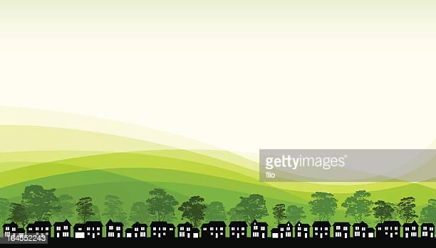 green living - housing development stock illustrations