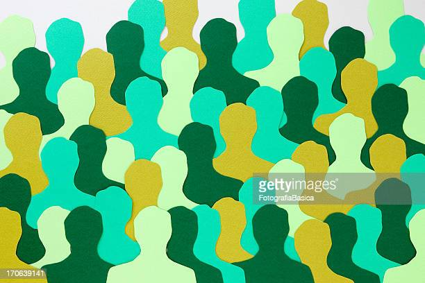 green men crowd - unrecognisable person stock illustrations