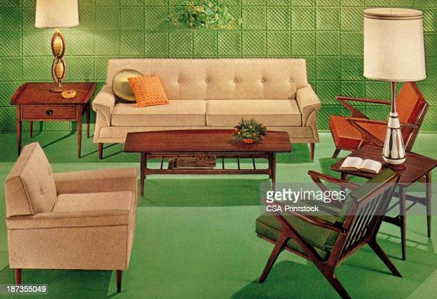 緑色 20 世紀半ばのクラシカルのリビングルーム - キッチュ点のイラスト素材/クリップアート素材/マンガ素材/アイコン素材