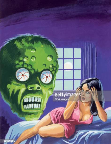 green monster and frightened woman - one mid adult woman only stock illustrations