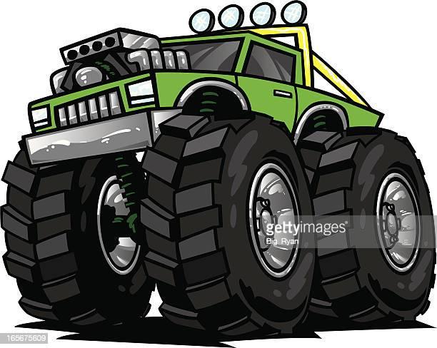 ilustraciones, imágenes clip art, dibujos animados e iconos de stock de verde monster truck - monstertruck